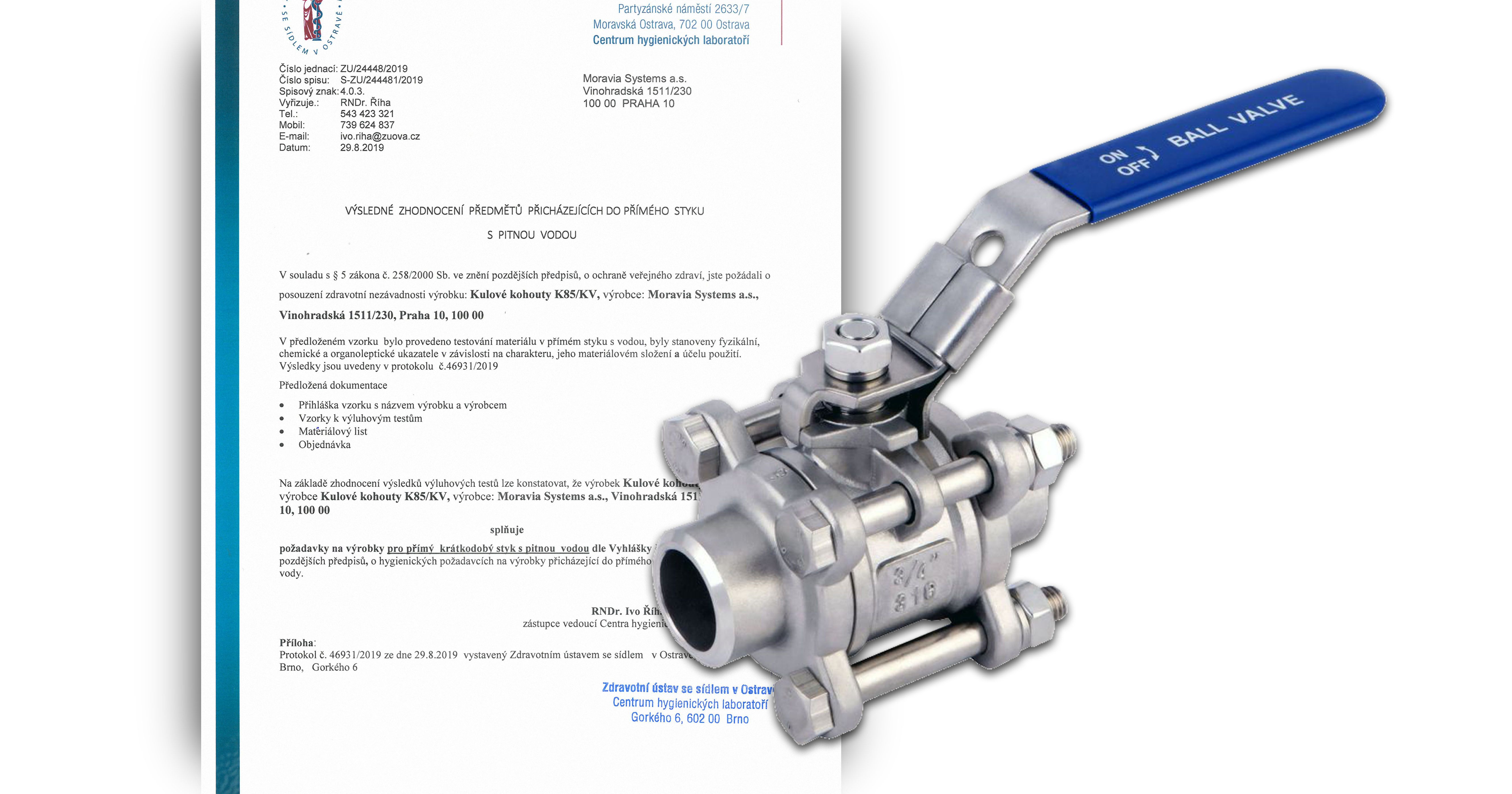 Approval of stainless steel ball valves K85 for drinking water use